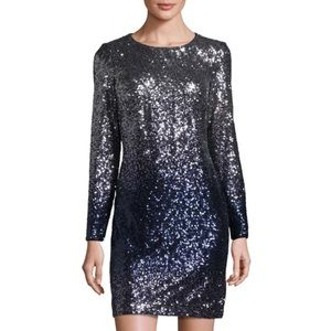 MAIA Ombre Long-Sleeve Sequined Dress, Blue/Silver